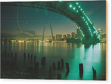 Night View Of St. Louis, Mo Wood Print by Michael S. Lewis