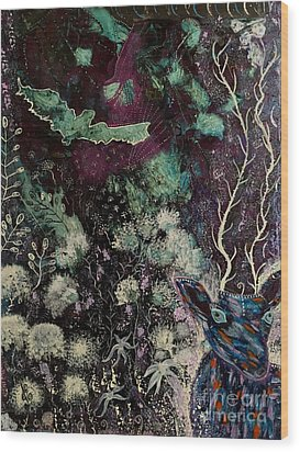 Wood Print featuring the painting Night Vision by Julie Engelhardt