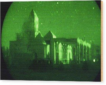 Night Vision Mosque Kandahar Wood Print by Thomas Michael Corcoran