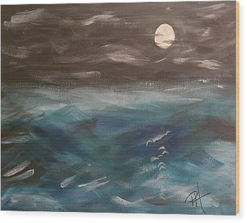Night Waves Wood Print by Patti Spires Hamilton