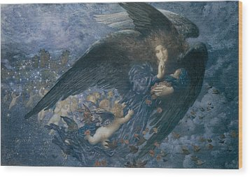 Night With Her Train Of Stars Wood Print by Edward Robert Hughes