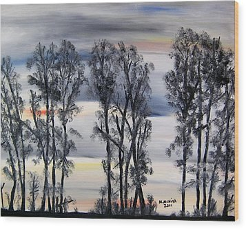 Wood Print featuring the painting Nightfall Approaching by Marilyn  McNish