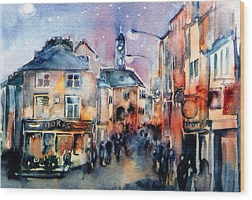 Nightfall. High St. Kilkenny City  Ireland  Wood Print by Trudi Doyle