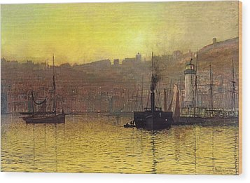 Nightfall In Scarborough Harbour Wood Print by John Atkinson Grimshaw