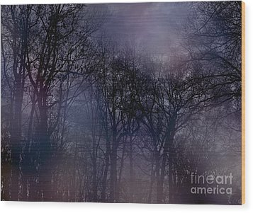 Nightfall In The Woods Wood Print by Sandy Moulder