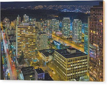 Nightlife On The Other End Of Robson Street Wood Print by David Gn