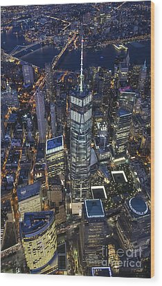 Nighttime Aerial View Of 1 Wtc Wood Print by Roman Kurywczak