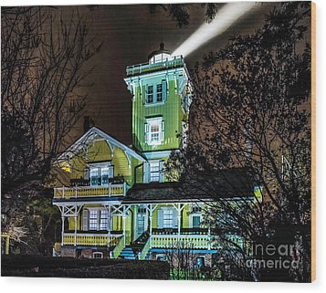 Wood Print featuring the photograph Nighttime Fog At Hereford Inlet by Nick Zelinsky