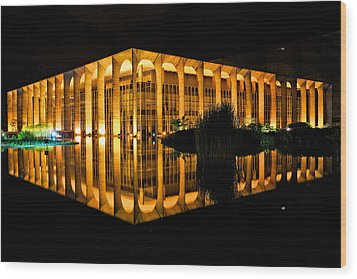 Wood Print featuring the photograph Nighttime Reflections by Kim Wilson