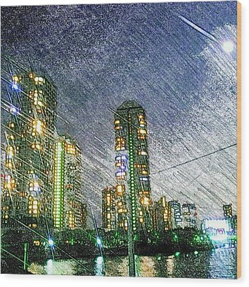 Tokyo River Wood Print by Daisuke Kondo