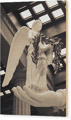 Nike Goddess Of Victory Sepia Wood Print by Linda Phelps
