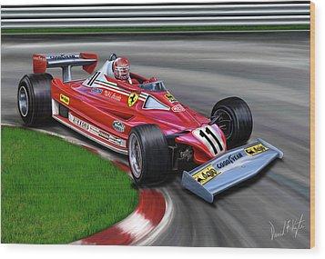Niki Lauda F-1 Ferrari Wood Print by David Kyte
