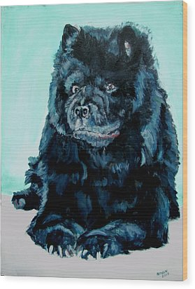 Wood Print featuring the painting Nikki The Chow by Bryan Bustard