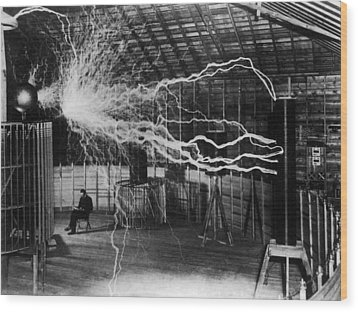 Nikola Tesla 1856-1943 Created A Double Wood Print by Everett