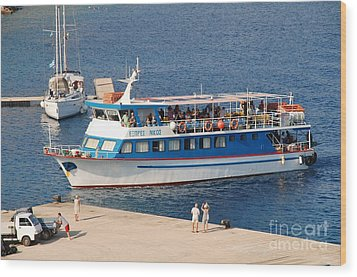 Nikos Express Ferry At Halki Wood Print