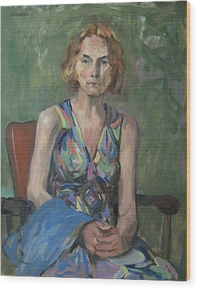 Nina In Patterned Dress Wood Print