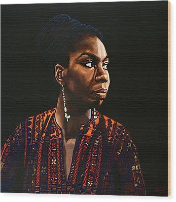 Nina Simone Painting Wood Print by Paul Meijering