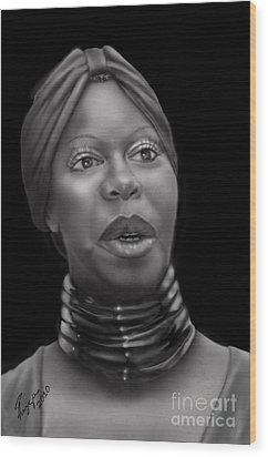 Nina Simone-revolution Wood Print by Reggie Duffie
