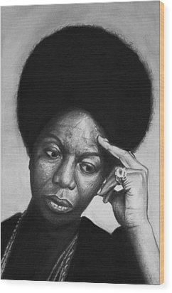 Nina Simone Wood Print by Steve Hunter