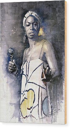 Nina Simone Wood Print by Yuriy  Shevchuk