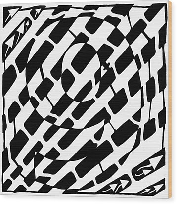Nine Maze Wood Print by Yonatan Frimer Maze Artist