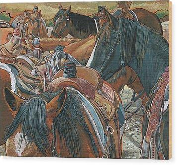 Nine Saddled Wood Print by Nadi Spencer