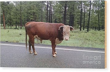 Wood Print featuring the photograph No Bull by Roberta Byram