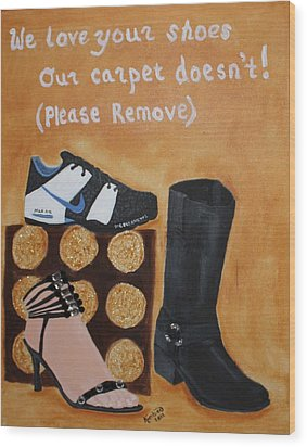 No Shoes Wood Print by Kimber  Butler