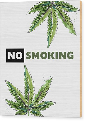 Wood Print featuring the mixed media No Smoking - Art By Linda Woods by Linda Woods