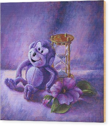 No Time To Monkey Around Wood Print by Retta Stephenson