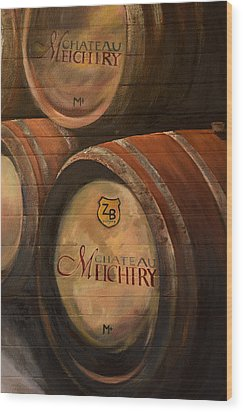 No Wine Before It's Time - Barrels-chateau Meichtry Wood Print by Jan Dappen