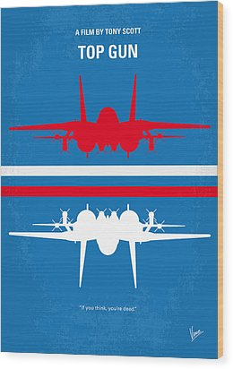 No128 My Top Gun Minimal Movie Poster Wood Print