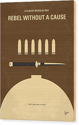 No318 My Rebel Without A Cause Minimal Movie Poster Wood Print by Chungkong Art