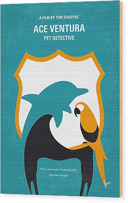 No558 My Ace Ventura Minimal Movie Poster Wood Print