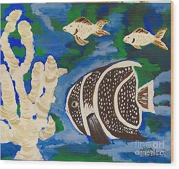 Noah's Aquarium Wood Print by Marsha Heiken
