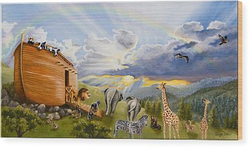 Noah's Ark Wood Print by Cheryl Allen