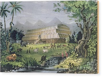 Noahs Ark Wood Print by Currier and Ives