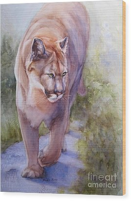 Wood Print featuring the painting Noble Cougar by Bonnie Rinier