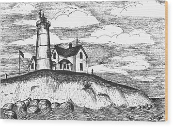 Nobska Point Light Wood Print