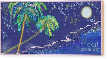 Wood Print featuring the painting Noche Tropical by The Art of Alice Terrill