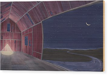 Wood Print featuring the painting Nocturnal Barnscape by Scott Kirby