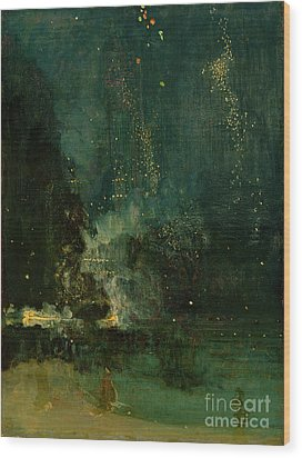 Nocturne In Black And Gold - The Falling Rocket Wood Print by James Abbott McNeill Whistler