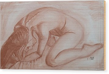 Wood Print featuring the painting Nocturne by Jarko Aka Lui Grande