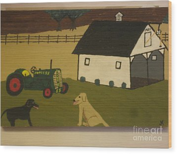 Wood Print featuring the painting Nook And Brutus by Jeffrey Koss