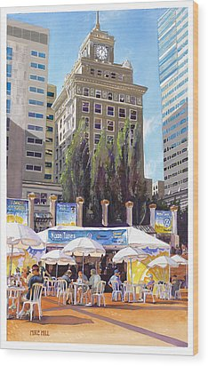 Noon Tunes Pioneer Square Wood Print by Mike Hill