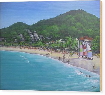 Wood Print featuring the painting Noosa Fun Acrylic Painting by Chris Hobel