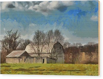Wood Print featuring the mixed media Norman's Homestead by Trish Tritz