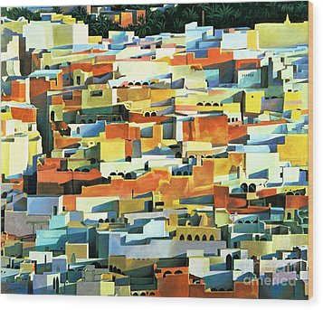 North African Townscape Wood Print by Robert Tyndall