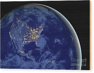 North America From Space Wood Print by Delphimages Photo Creations