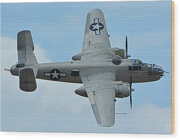 Wood Print featuring the photograph North American B-25j Mitchell N9856c Pacific Princess Chino California April 30 2016 by Brian Lockett